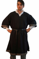 Medieval-LARP-SCA-Re-enactment-Mens-RICH BLACK BRAIDED WOOLEN TUNIC One Size