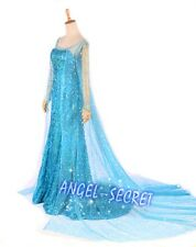 PJ722 Fancy KID ADULT NWT Frozen Snow Queen Elsa Cosplay Costume Deluxe Dress