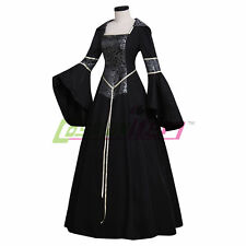Black Hooded Medieval Gown Renaissance Maiden Dress Costume Fancy Dress