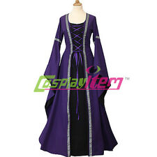Purple Black Medieval Victorian Renaissance Maiden Dress Gown Costume Cosplay