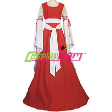 Red and White Medieval Renaissance Maiden Dress Gown Plus Size Custom