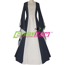 Navy Blue and White Medieval Dress Victorian Renaissance Gothic Dress Costume