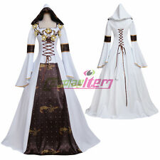 White Brown Medieval Renaissance Wedding Dress Gown With Hood Halloween Costume