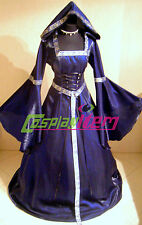 Vintage Purple Renaissance Medieval Wedding Dress Gown Adult Halloween Costume