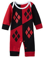 Harley Quinn Baby Girls Long Sleeves Romper Jumpsuit Costume Size 0-18 Months
