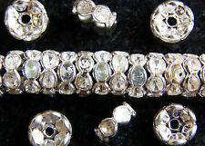 RONDELLE~WAVE EDGE~SILVER PLATED~CLEAR RHINESTONE~SPACER  BEADS, 6 x 3 MM