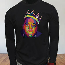 Hip Hop NY Smalls Notorious Big Biggie Legend Art Mens Black Long Sleeve T-Shirt
