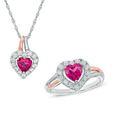 Heart Shape Synthetic Ruby and Natural Diamond Pendant and Ring Set in 10k Gold
