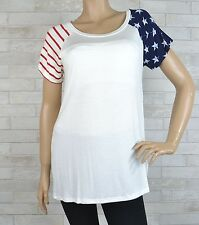 **ON SALE **Stars & Stripes White short sleeves T shirt Top - NWOT -S-M-L