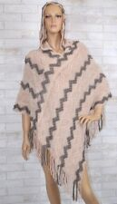 One Size Fits Most Origami by Vivien Rose Sand and Gray Fringe Hoodie Poncho