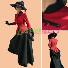 Red Black Victorian Civil War Ball Gown Southern Belle Dress Halloween Costume