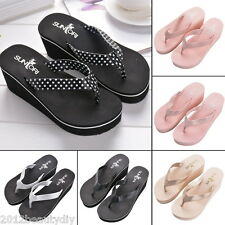 1Pair Fashion Summer Women High-heeled Pinch Flip Flops Slippers Beach Sandals