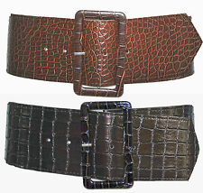 Ladies Girls Leather Look Reptile Skin Texture Retro Wide PVC Cinch Waist Belt