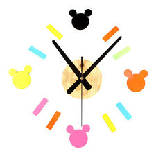 DIY Wall Clock Modern Designs Mouse Stickers  Home Decor Watch Bedroom for Kids