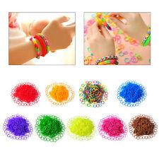 600Pcs DIY Colorful Rainbow Refill Rubber Loom Bands Bracelet Making Kit Clips