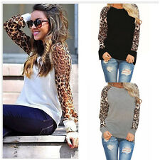 Women New Fashion Sexy Chiffon Leopard Loose Long-Sleeved T-Shirt Casual Blouse