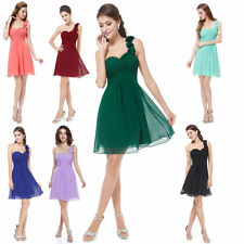AU Ladies Solid Chiffon Ruffles One Shoulder Bridesmaid Cocktail Party Dresses