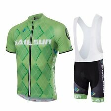 Men Sports Team Bicycle Bike Cycling Clothing Wear Jersey & Bib Shorts Green