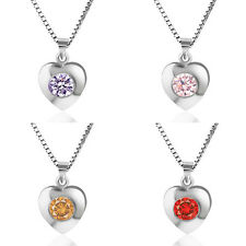 Fashion Lady 925 Sterling Silver Heart Pendant Necklace Chain Jewelry Love