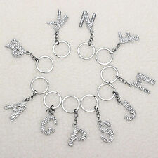 1 New Initial Alphabet Letter A-Z Crystal Rhinestone Metal Keychain Keyring Gift