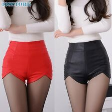 SEXY PU LEATHER HIGH WAIST SHORTS SLIM WOMEN FASHION SHORT PANTS BLACK PLUS SIZE