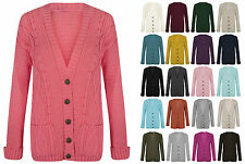 Womens Long Sleeve Button Top Ladies Chunky Aran Cable Knit Grandad Cardigan