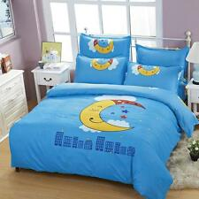 Single Queen King Size Bed Set Pillowcase Quilt Duvet Cover Smile Star Moon O