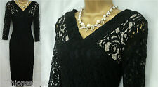 M&S BLACK LACE WIGGLE BODYCON PENCIL SLIMMING PARTY LBD VINTAGE 60'S DRESS 6-28