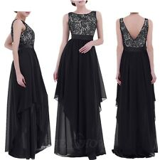 Women Formal Bridesmaid Evening Cocktail Wedding Gown Party Prom Long Lace Dress