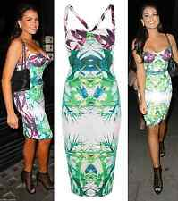 LADIES CELEB JESS WRIGHT TROPICAL CROSS BACK BODYCON MIDI DRESS UK SIZE 8 14