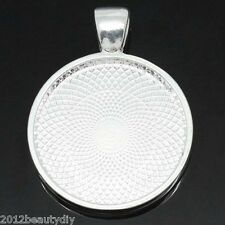 Wholesale Round Cameo Frame Settings Pendants Silver Plated