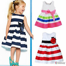 Kids Baby Girls Striped Bowknot Dress Summer Party Sleeveless Sundress Clothing