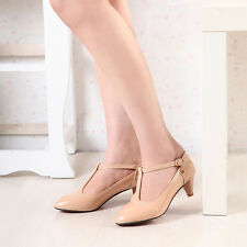 Ladies Women LOW KITTEN Mary Jane heel comfort Synthetic Leather Shoes US SIZE