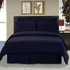 8pc Navy Blue Duvet Cover & Bedroom Comforter AND Microfiber Sheet Set