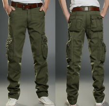 Mens Cotton Work Pants Army Military Combat Cargo Pants Camo Casual Trousers