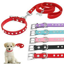 Rhinestone Suede Leather Dog Collars and Leash Set Bling for Small Dog Pet Puppy