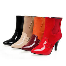 Women's Patchwork Synthetic Leather Zipper Shoes Sexy High Heel Ankle Boots B086