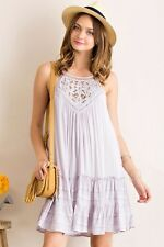 S-M-L By the Shadow of the Moon Ruffle Dress- Gray with a hint of Lavender
