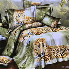 3D Leopard Animal Tree Duvet Quilt Cover Pillowcase Bedding Set Queen Size O