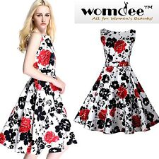 Womdee Women 1950's Vintage Floral Pattern Sleeveless Swing Party Cocktail Dress