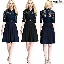 Womdee Vintage 1950s Lace Splice 3/4 Sleeve Flare A-line Cocktail Shirt Dress