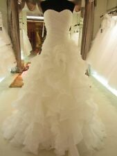 New Ruffles organza white/ivory wedding dress Bridal Gown size 6 8 10 12 14 16++
