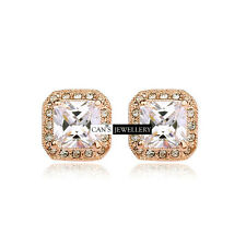 18K GP with Princess Cut SWAROVSKI ELEMENTS CRYSTAL Square Stud Earrings E018
