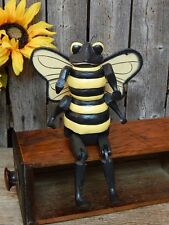 PRIMITIVE Wood CARVED JOINTED Shelf Sitter BUMBLE BEE Folk Art TOY