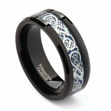 8mm Celtic Dragon Inlayed Black Tungsten Carbide Ring Wedding Band Men's Jewlery