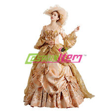 Beige Medieval Renaissance Ball Gown Wedding Dress Royal Court Stage Costume