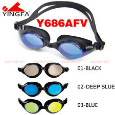 YINGFA Y686AFV SWIMMING GOGGLES ANTI-FOG UV PROTECTION BLACK DEEP BLUE FREE SHIP
