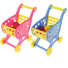 Kids Grocery Supermarket Shopping Basket Cart with Trolley Pretend Play Toys Set