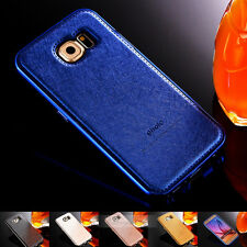 Luxury PU Leather Hard Back Case Aluminum Bumper Cover For Samsung Galaxy S7 S6