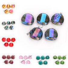 10/20pcs Charms Faceted Glass Crystal Twist Tile Beads Spacer 18mm 27 Colors